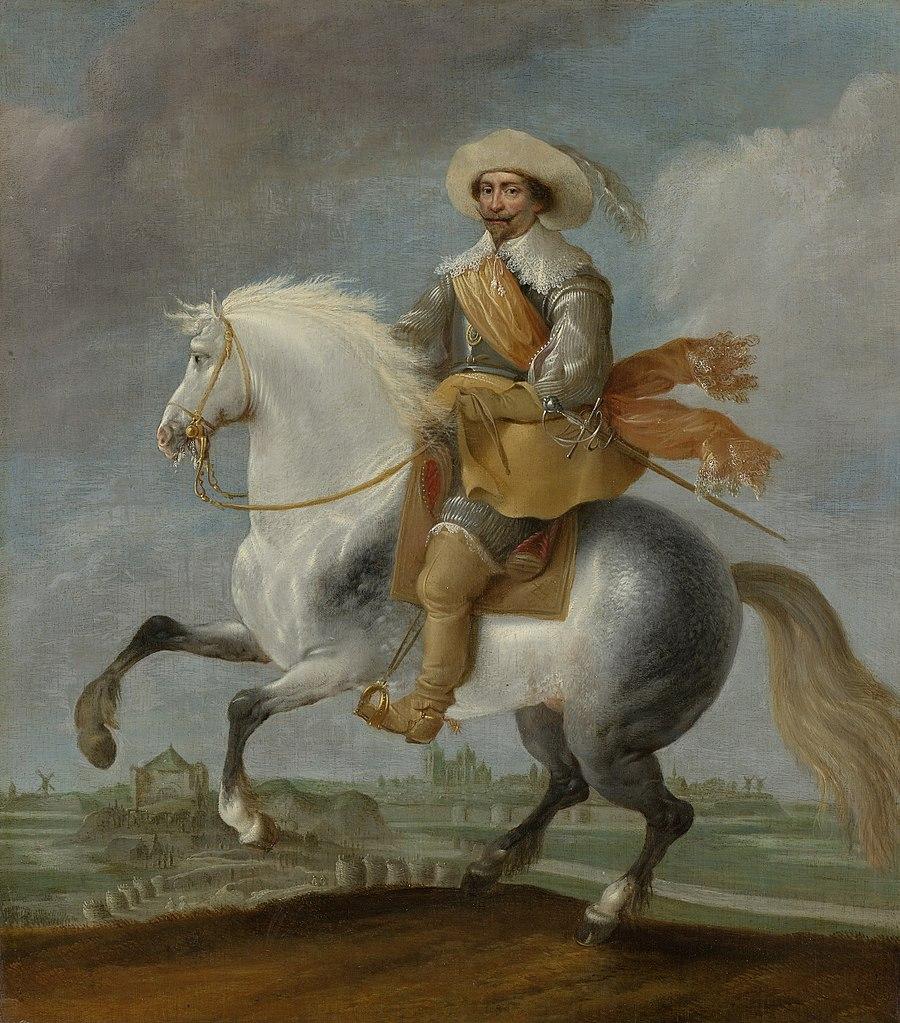 Prince Frederik Hendrik on horseback outside the fortifications of 's-Hertogenbosch, 1632-5, Pauwels van Hillegaert, Dutch