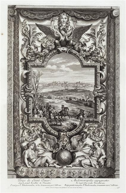 Battle of Saint-Omer, 1720, Louis Surugue after Van der Meulen and Charles Le Brun, Paris, France
