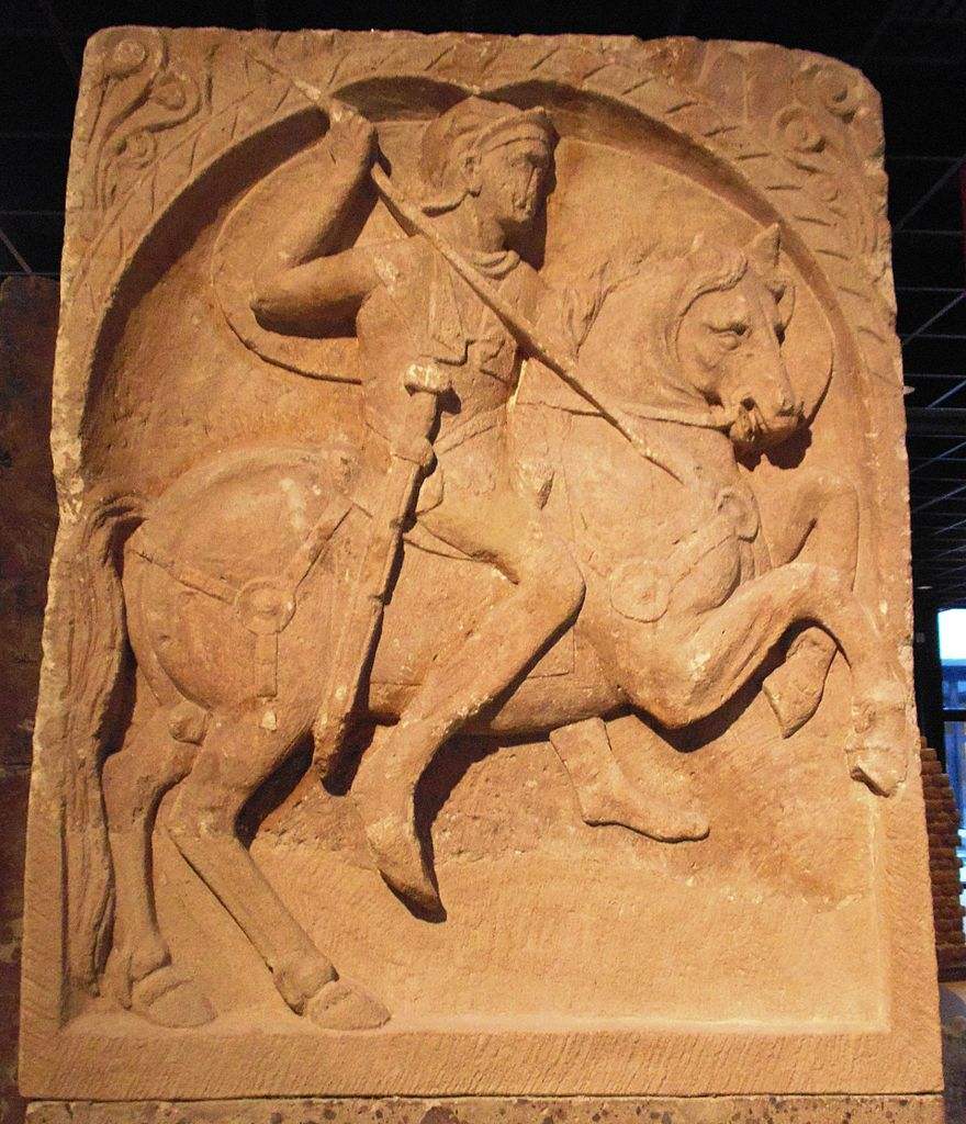 Roman cavalryman tombstone, 1st century AD, discovered in Cologne, Germany