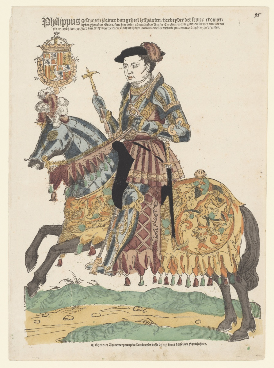 Philip II, king of Spain, on Horseback, 1543-44, Cornelis Anthonisz (manner of) and Hans Liefrinck (I), Antwerp, Netherlands