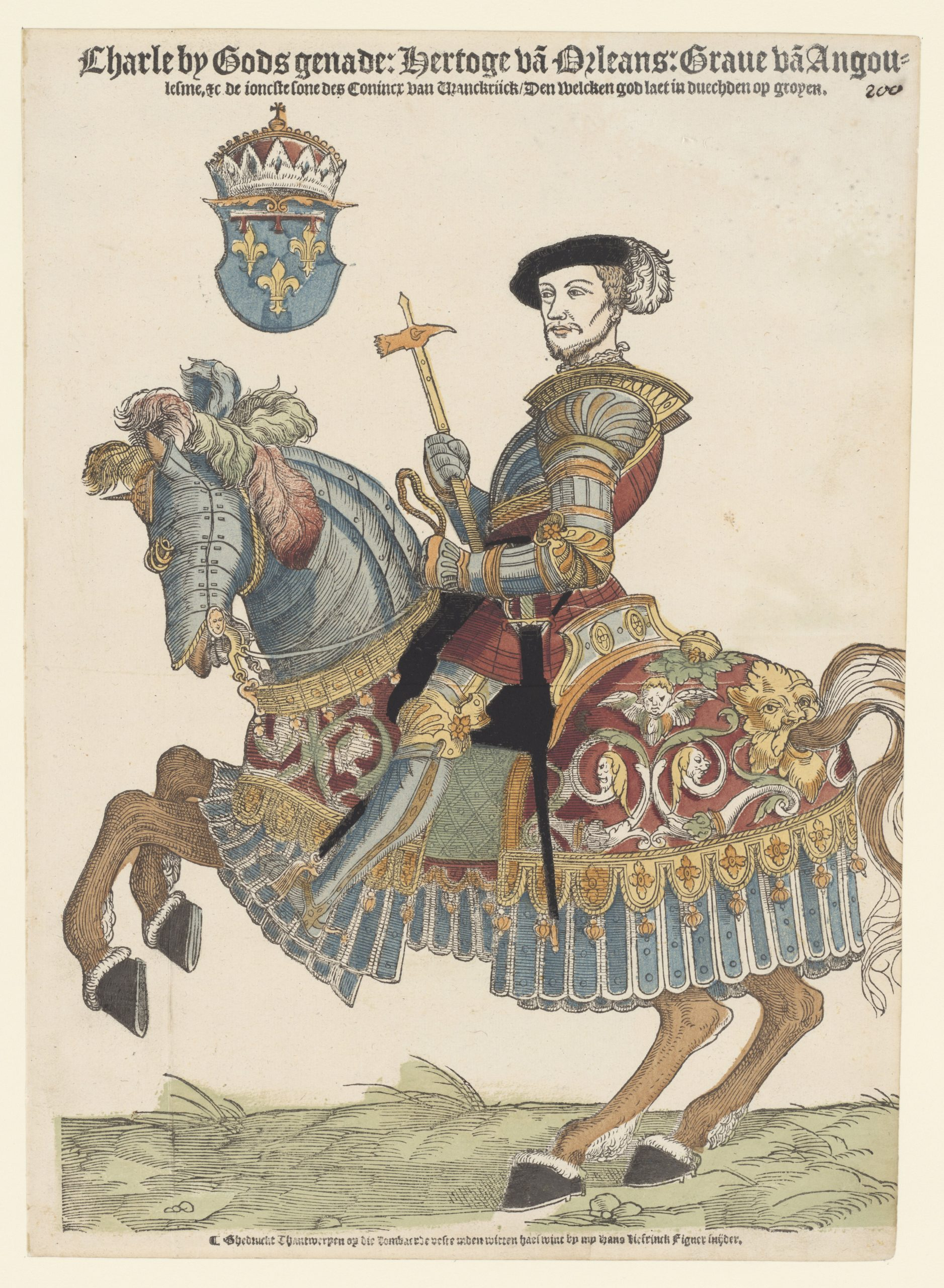 Charles, Duke of Orleans, on Horseback, 1538-45, Cornelis Anthonisz (manner of) and Hans Liefrinck (I), Antwerp, Netherlands