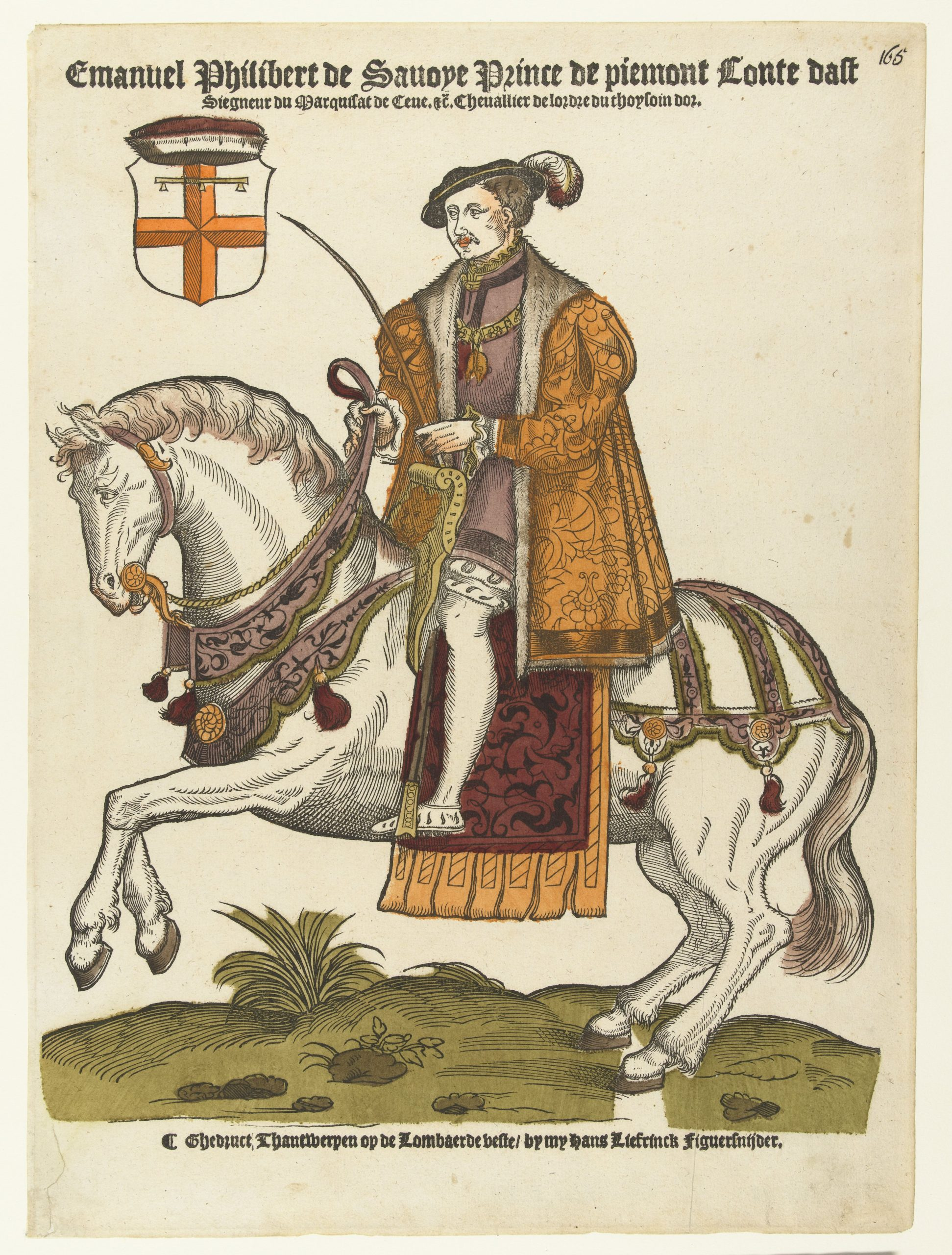 Emmanuel Philibert, duke of Savoy, on Horseback, 1546-50, Cornelis Anthonisz (manner of) and Hans Liefrinck (I), Antwerp, Netherlands