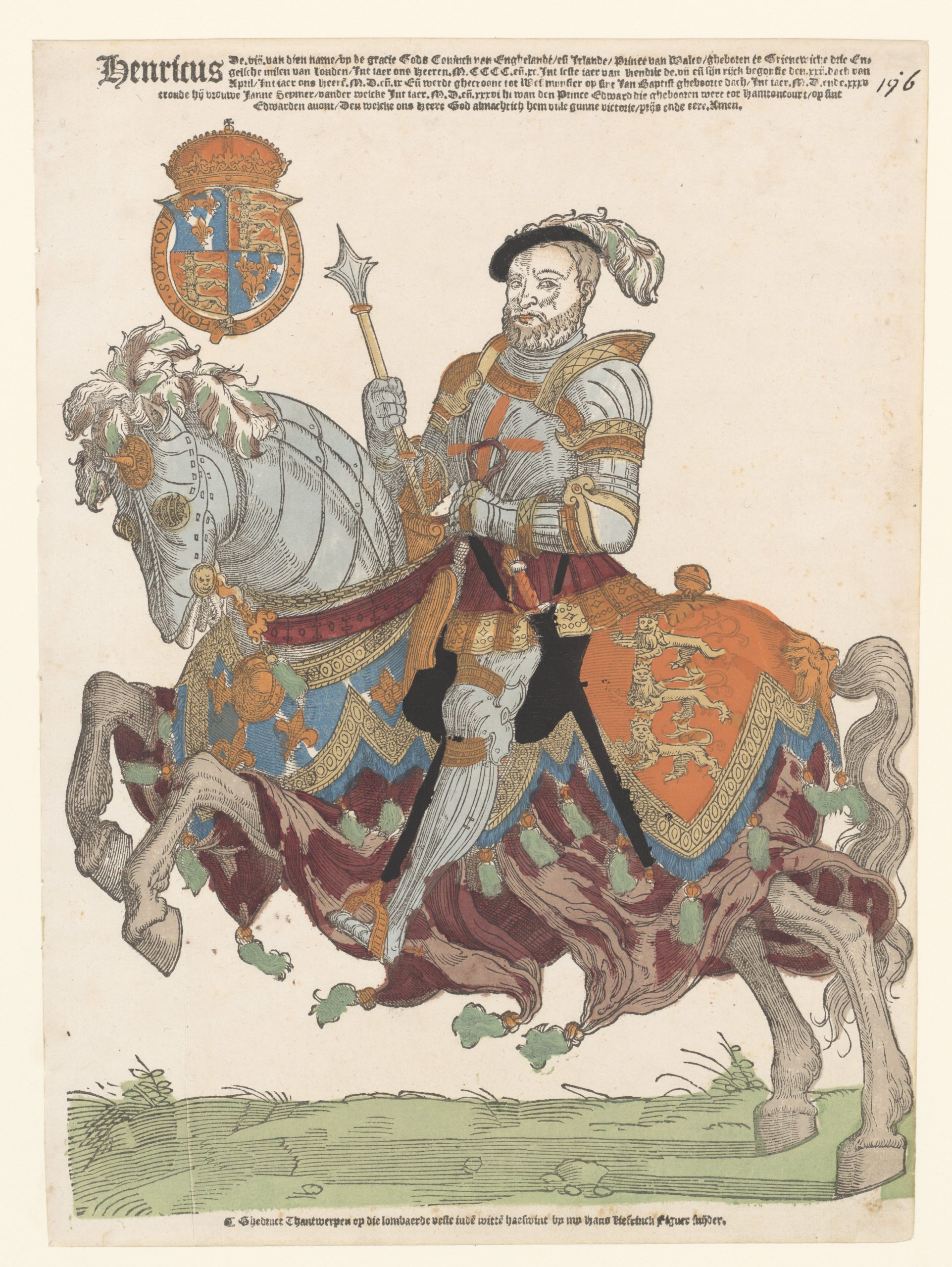 Henry VIII, king of England, on Horseback, 1538-48, Cornelis Anthonisz (manner of) and Hans Liefrinck (I), Antwerp, Netherlands