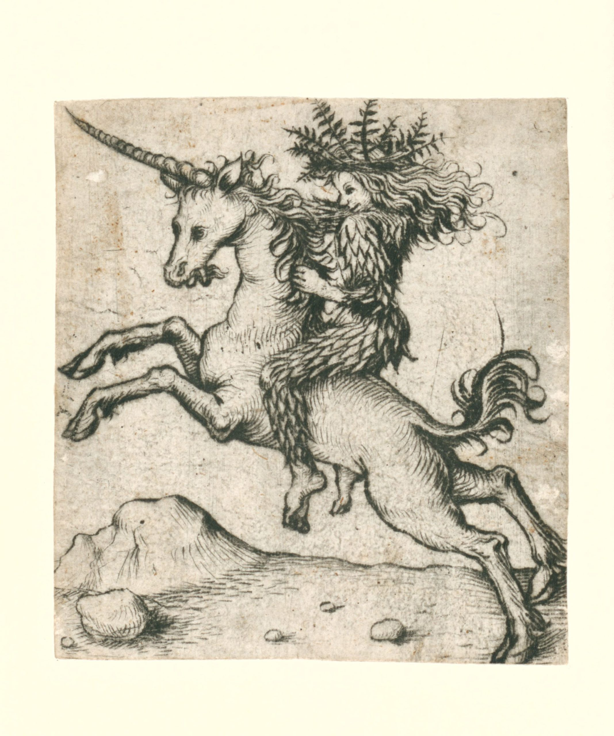 COMPARANDUM: Wild woman on a unicorn, 1473 - 1477, Master of the Amsterdam Cabinet, Germany