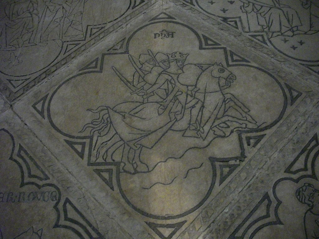 Inlaid (limestone incrusted with lead) tile showing three knights (a scene from the Old Testament), 13th century, Saint Eligius chapel, in the former Saint Nicasius church of Reims, Marne, France