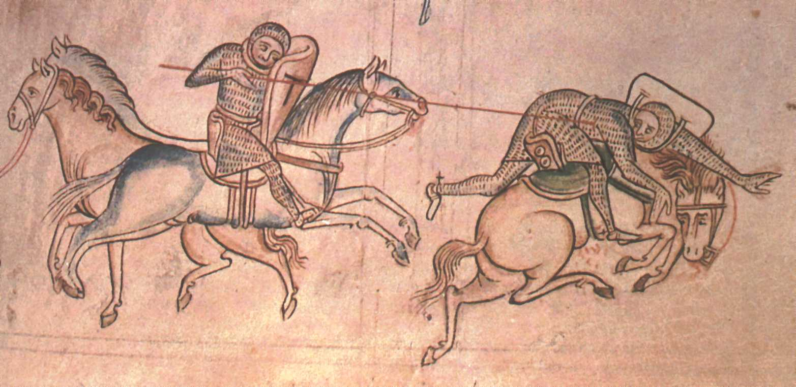 Richard Marshal unhorses Baldwin Guines at a skirmish before the Battle of Monmouth, 1233, illustration to Chronica Majora, 13th century, St. Albans, England