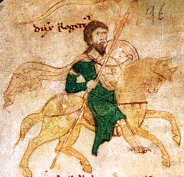 Roger II of Sicily from the 'Liber ad honorem Augusti' of Petrus of Ebulo, 1196, Palermo, Sicily