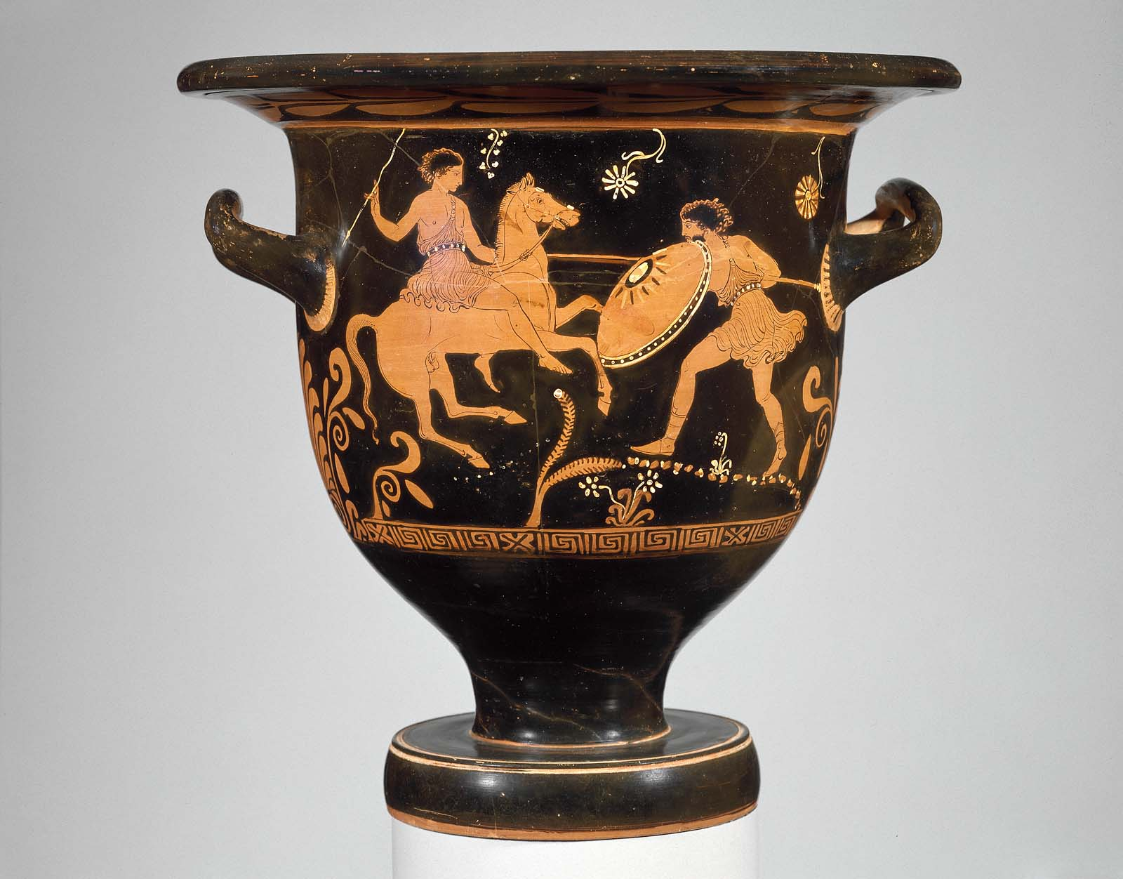 Bell-krater showing a battle of Troilus and Achilles, cr. 380–370 BC, the Hoppin Painter, Apulia