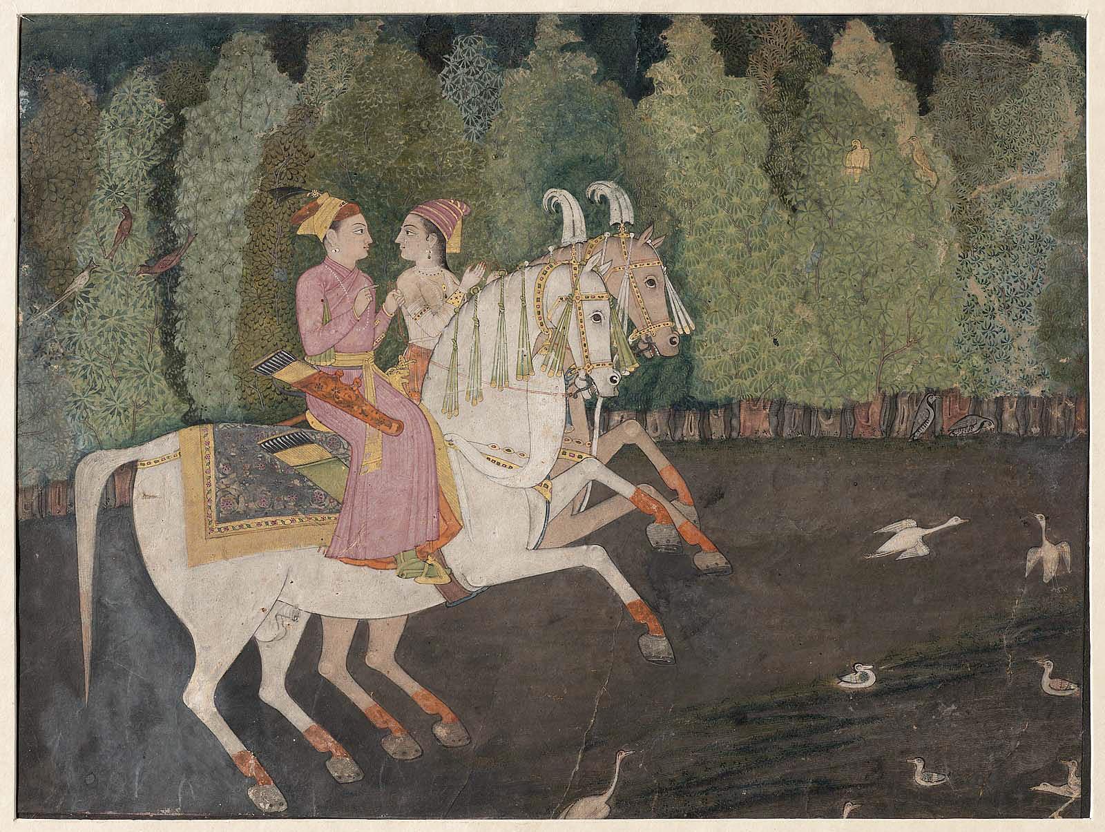 Hunting Scene: Prince and Princess on Horseback, 18th century, Mughal Empire