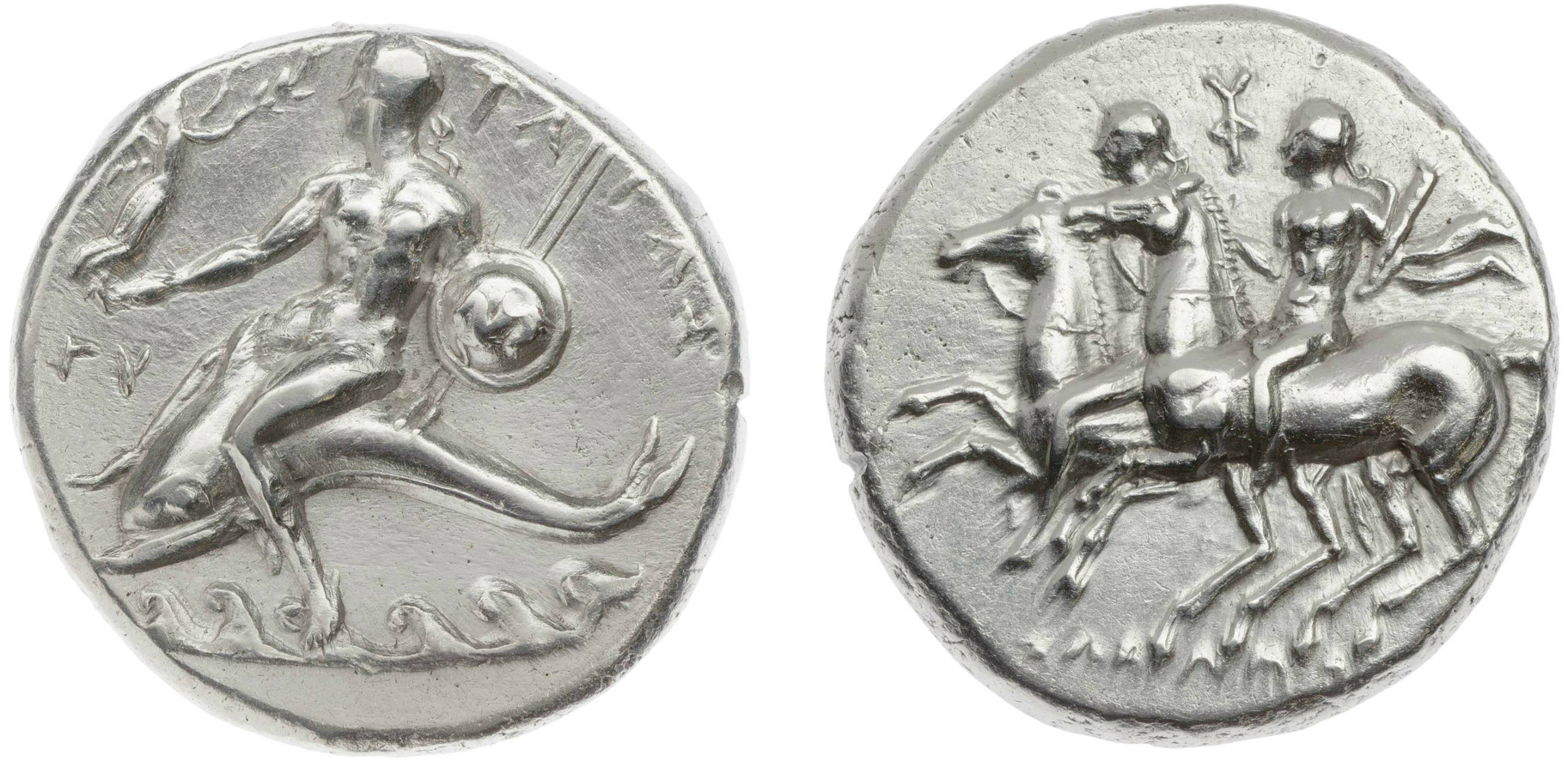 Stater of Sodamos, showing Dioscuri,cr. 281–272 BC, Taras (Tarentum), Calabria (Hellenistic)