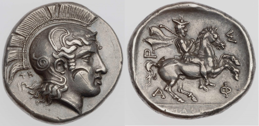 Drachm with the head of Athena, signed by Telephantos, cr. 425–405 BC, Pharsalos, Thessaly