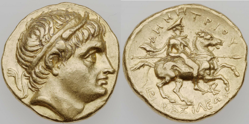 Stater with the head of Demetrios Poliorketes, cr. 290–289 BC, Macedonia