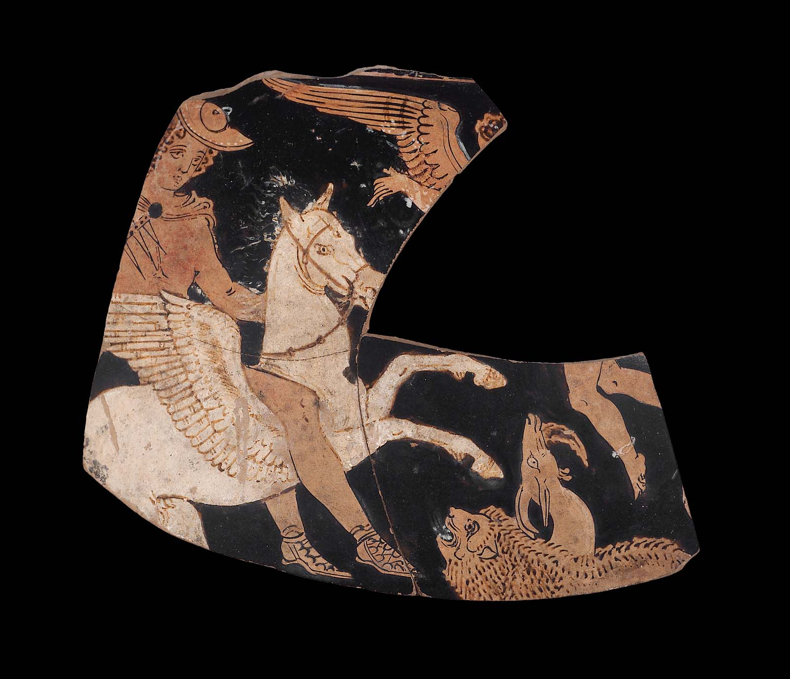 Fragment of an Oinochoe with Bellerophon mounted on Pegasus (white) attacking the Chimaera, cr. 350–340 BC, Italy, Apulia (Greek culture)