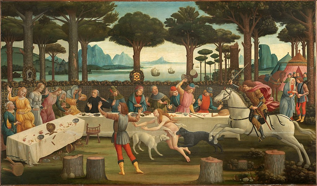 The Story of Nastagio Degli Onesti: The Banquet in the Pine Forest, 1482-3, Sandro Botticelli, Florence, Italy