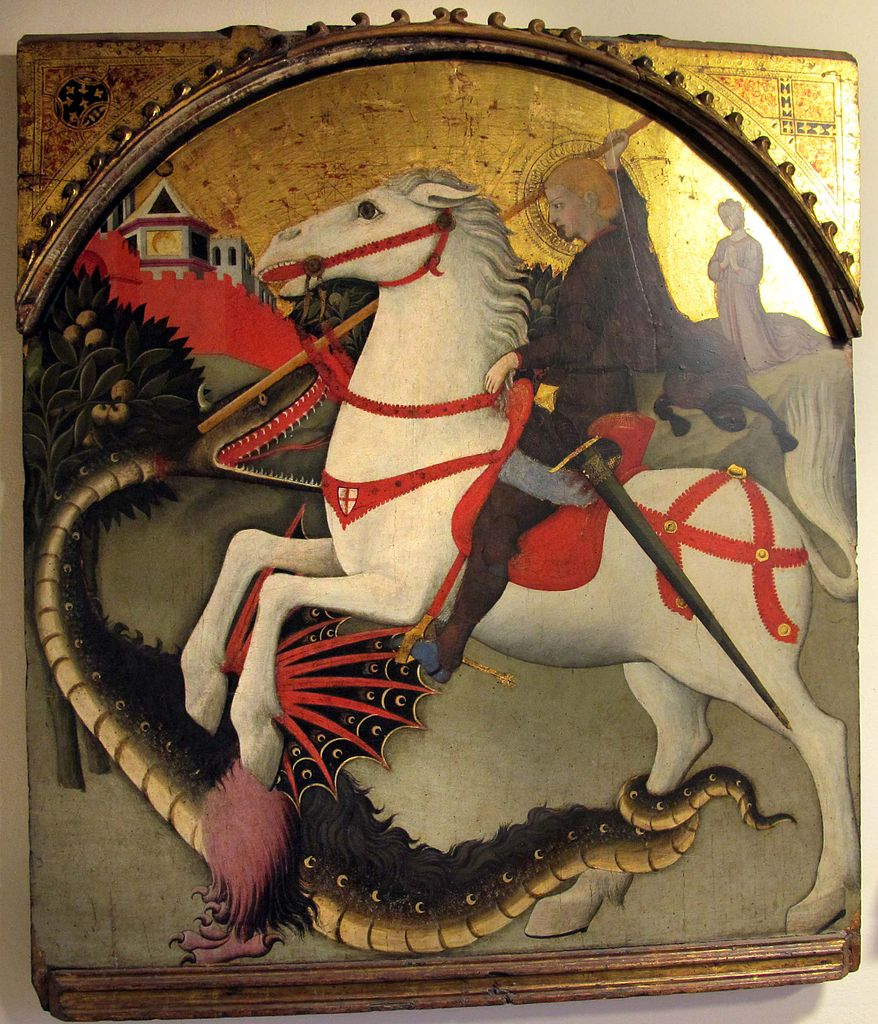 SIENESE SCHOOLSaint George and The Dragon, Sano di Pietro, 1444, Siena, Italy