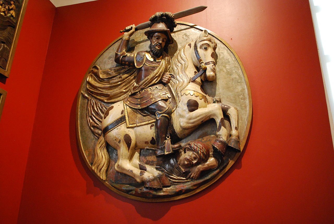 Wood relief of Saint James, colonial era, Mexico