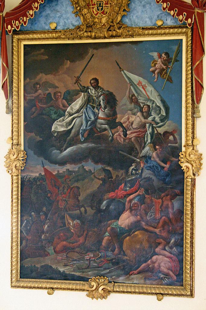 Apparition of Apostle Santiago in the battle of Clavijo, 18th century, Antonio González Ruiz, Cuenca, Spain