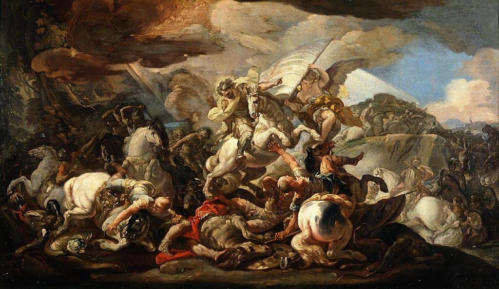 Apostle Santiago in the battle of Clavijo, cr. 1753-62, Ginés Andrés de Aguirre, after Corrado Giaquinto, Spain