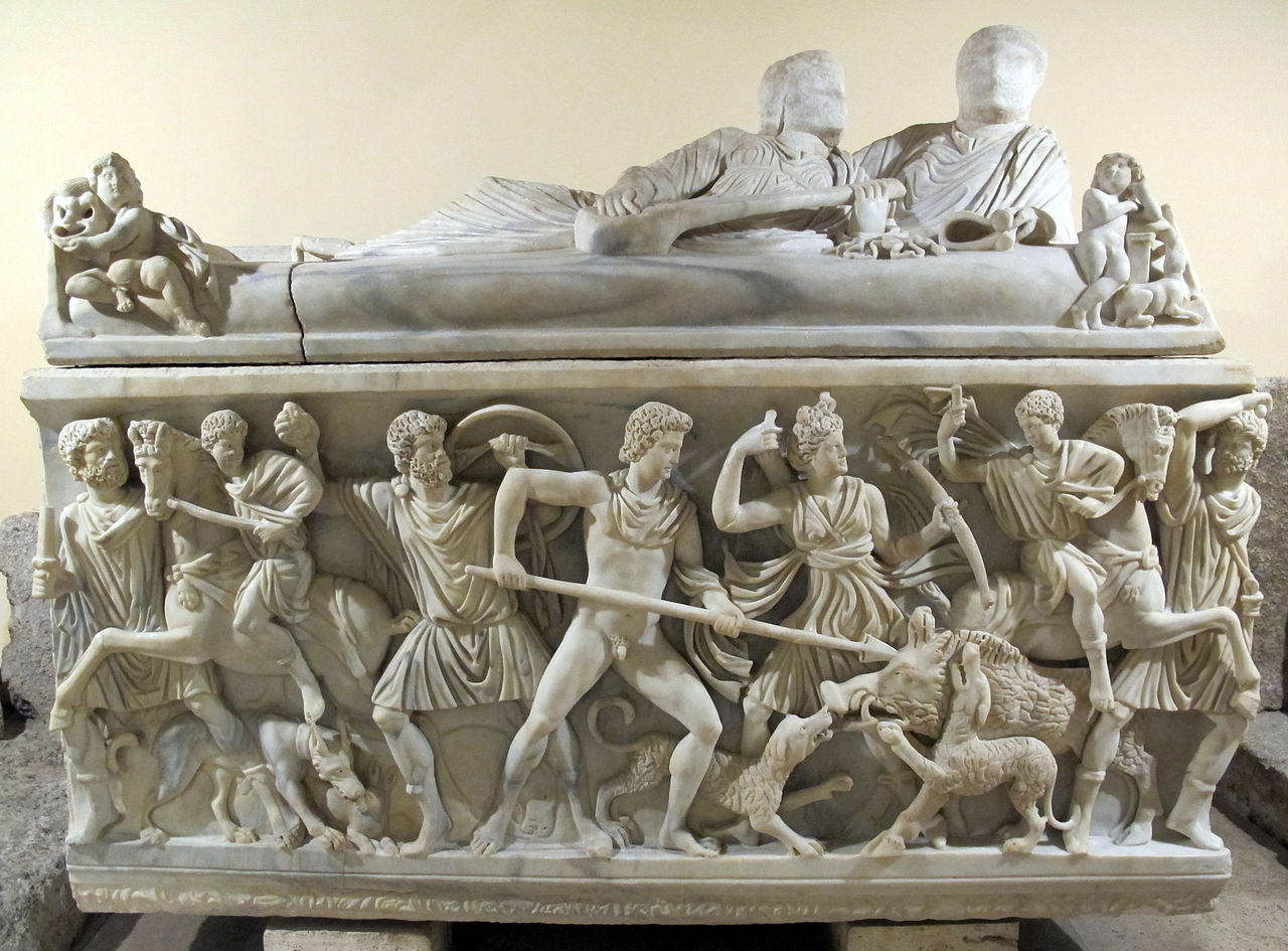 Sarcophagus with relief depicting the hunt for the Calydonian boar, 201-250 AD, Roman