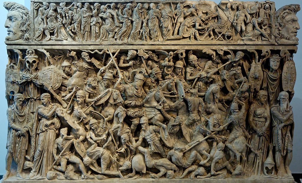 Portonaccio sarcophagus showing a battle scene between Roman soldiers and Germans, cr. 180–200, Rome