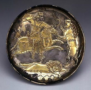 Plate with King Hunting Lions,5th century