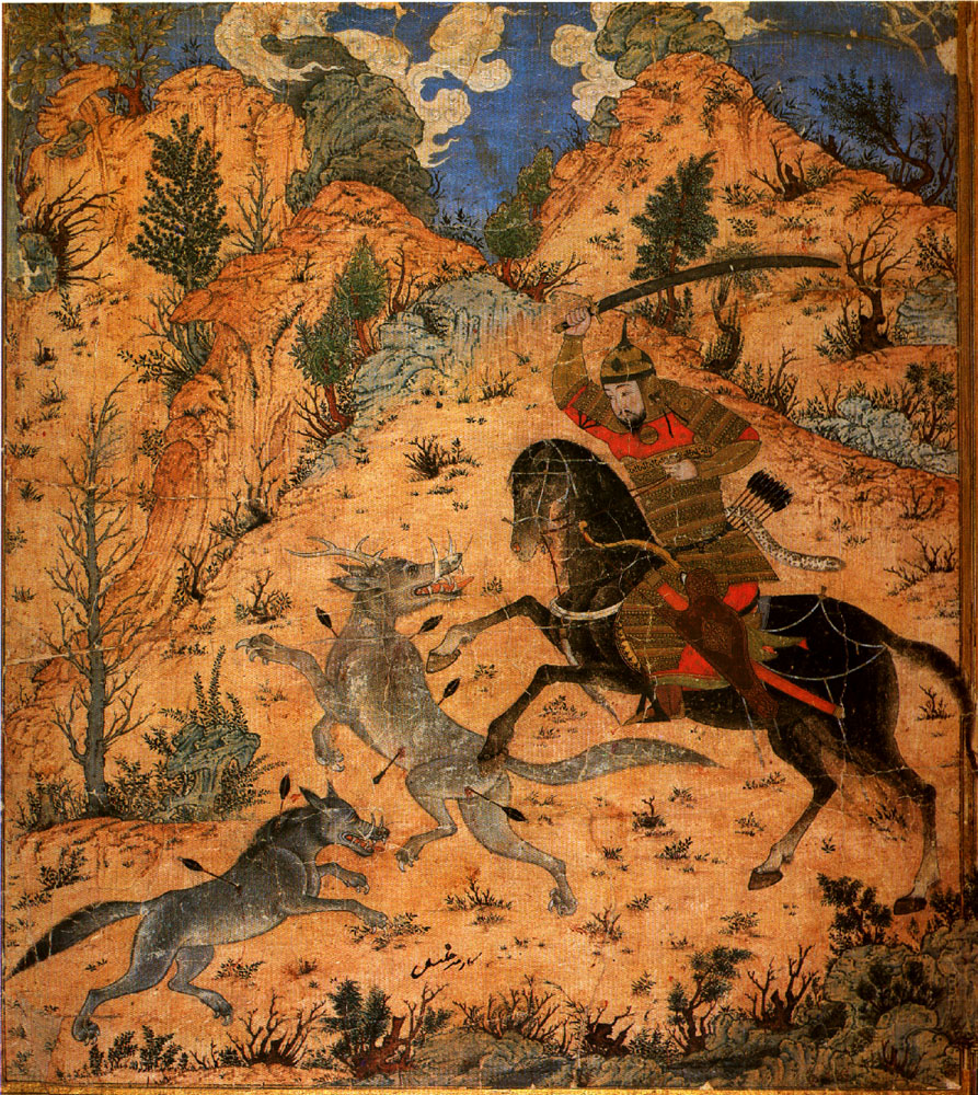Isfandiyar fights with the Wolves, illustration to Shahnameh, cr. 1370, Tabriz, Persia