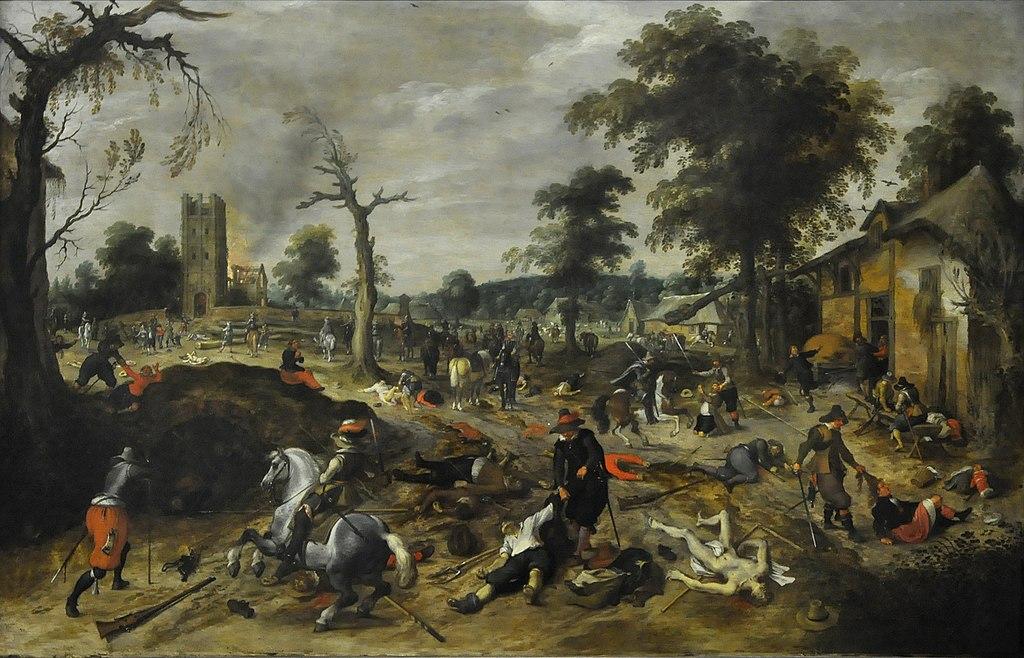 Looting of a village, possibly Wommelgem in 1589, cr. 1600-1650, Sebastiaen Vrancx, Flemish
