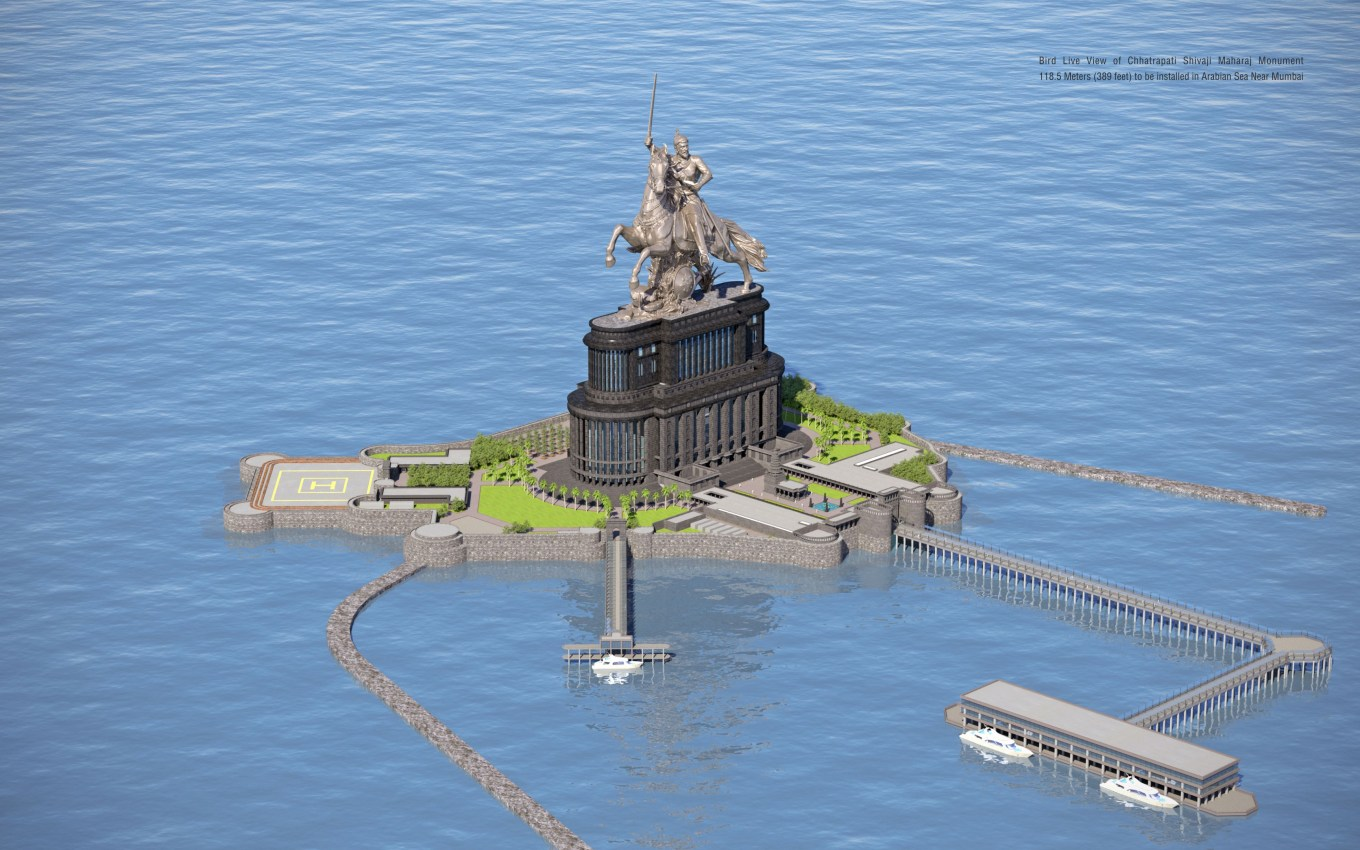Equestrian statue of Chhatrapati Shivaji (digital rendering), to be completed in 2021 (?), Ram V. Sutar and Anil Sutar, Mumbai, India