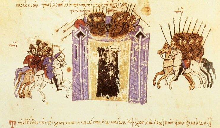 Siege of Amorium (838), 11th-13th centuries, illustration of Madrid Skylitzes, Sicily, Italy