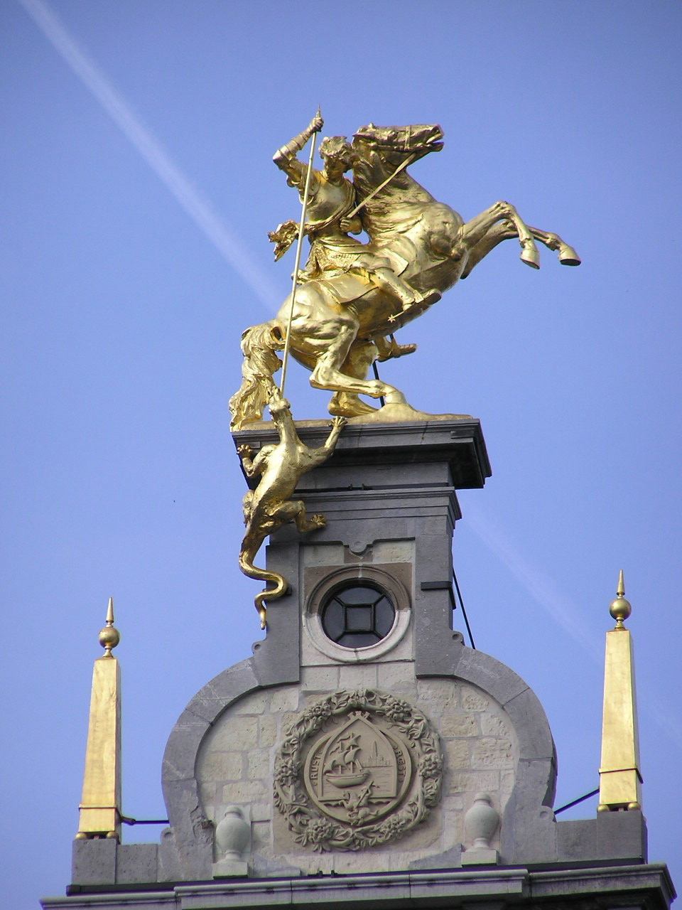 Statue of Saint George on top of Grote Markt 7 building, 1893, Jef Lambeaux, Antwerp, Belgium