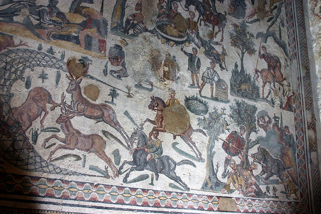 Small hunt mosaic, early 4th century AD, Villa del Casale, Piazza Armerina, Sicily