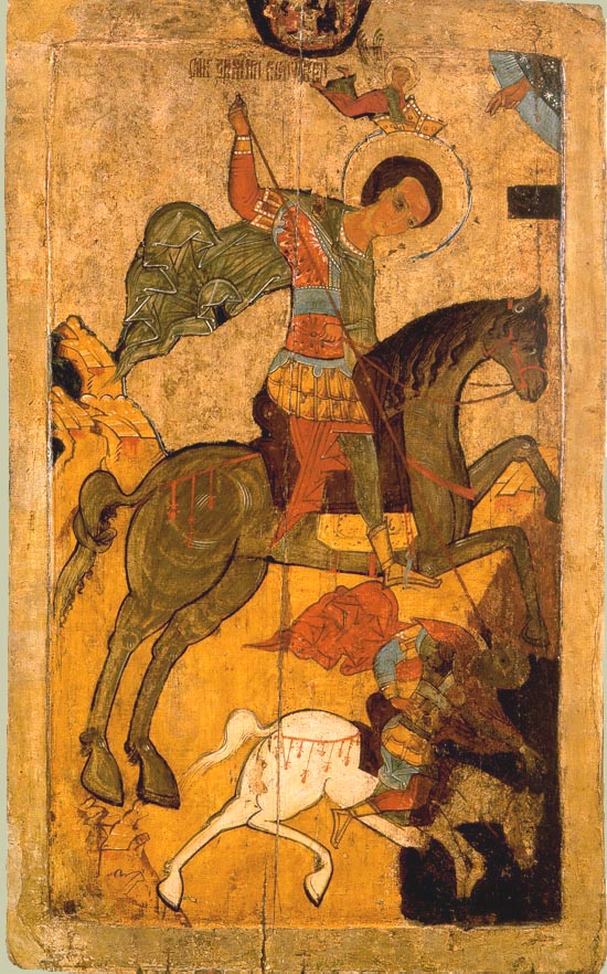 Saint Demetrius of Thessaloniki spearing king Kaloyan of Bulgaria, 1500-50, Russia