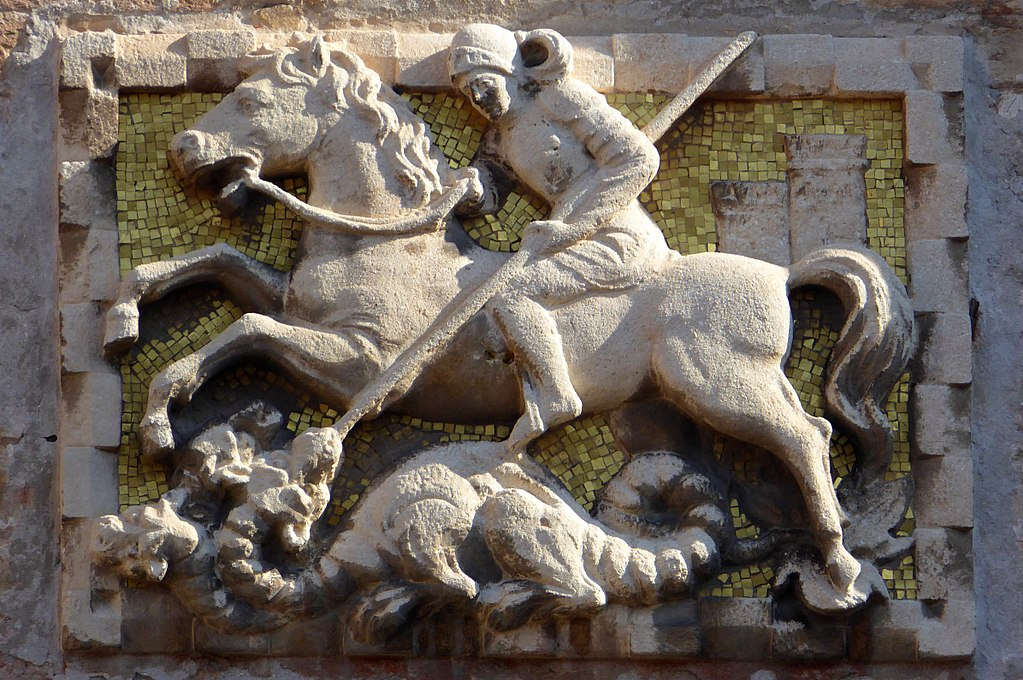 Relief showing Theodore of Amasea (or Saint George?) fighting the dragon, ?, Campiello dell'Anconeta, Cannaregio, Venice