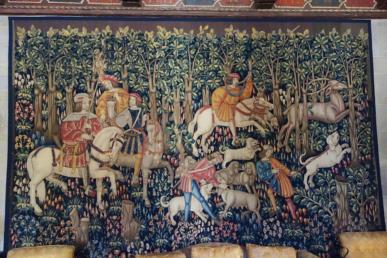 Stag hunt mille-fleurs tapestry, cr. 1500, Franco-Flemish
