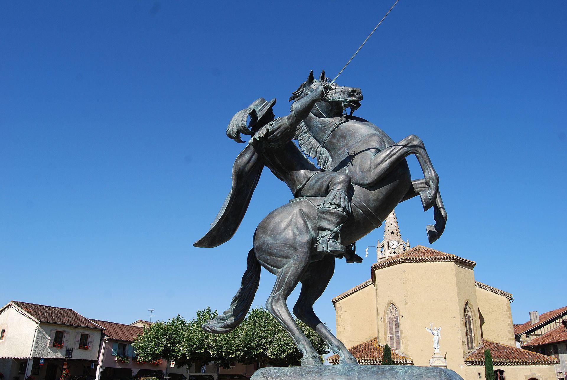 Equestrian statue of d'Artagnan, 2015, Daphné Du Barry, Lupiac, France