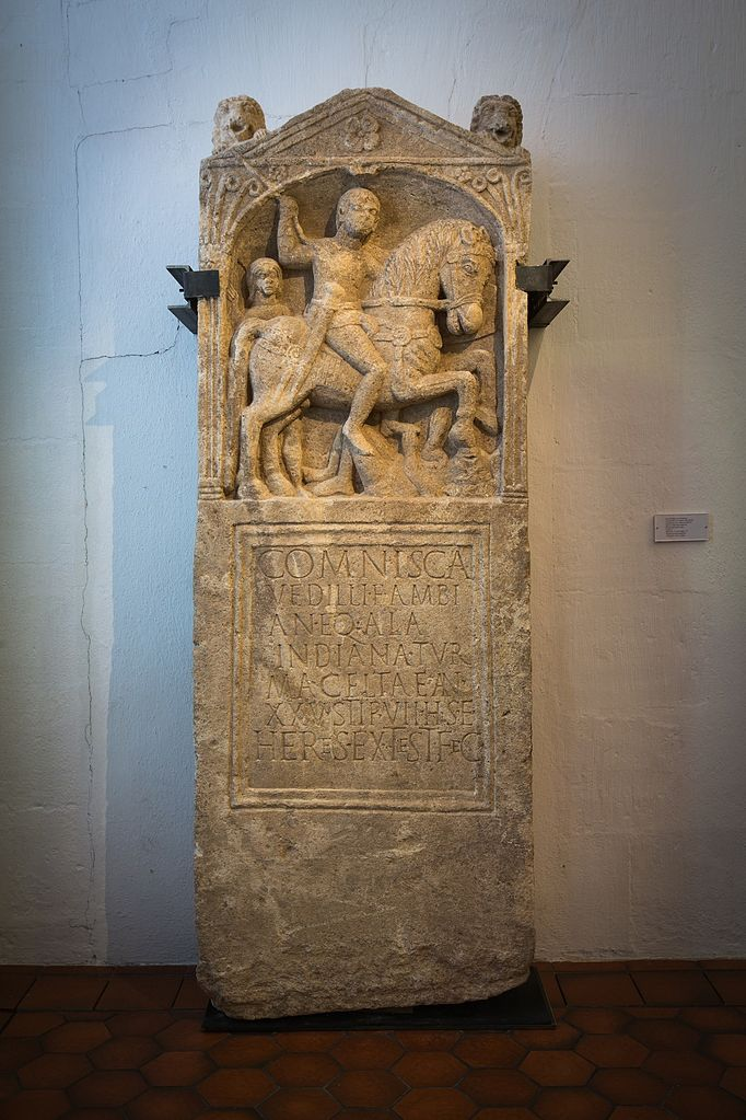 Tombstone for Roman cavalryman Comnisca, 1st century AD, discovered in Strasbourg, France