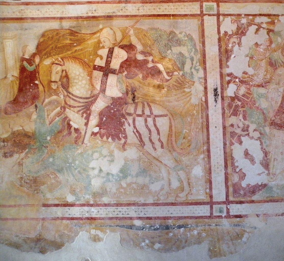 A knight, fresco, 14th century, St. Stephen's Church, Zanigrad, Slovenia