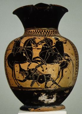 Oinochoe with the depiction of mounted warriors trampling a Scythian archer,cr. 510 BC, Attica