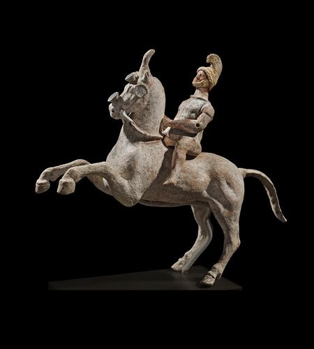 Terracotta horse and rider, cr. 323 BC, Canosa, Apulia, Italy