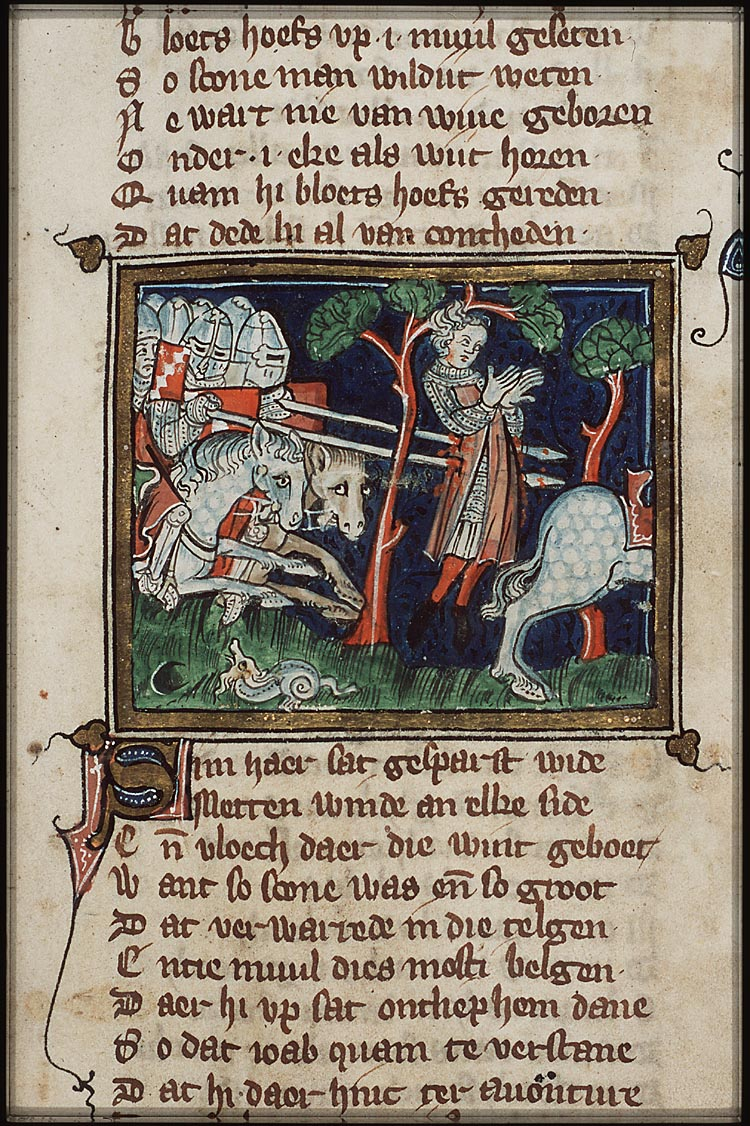 Death of Absalom, 1332, From Jacob van Maerlant's 'Rhimebible' of Utrecht, Netherlands