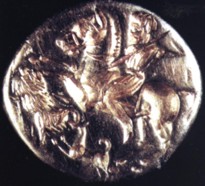 The bezel of the gold seal-ring showing boar-hunt on horseback, 5th-4th century BC, Peychova tumulus