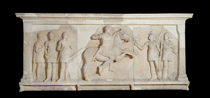 Facade relief from the tomb monument of Tiberius Flavius Miccalus, 50-1 BC, Kamaradere, Perinthus, Roman