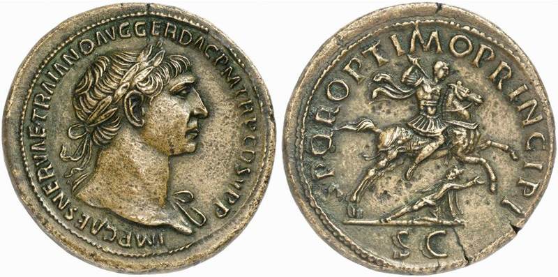 Sestertius showing Trajan on horseback on reverse, minted in 105 AD under Trajan, Roman Empire