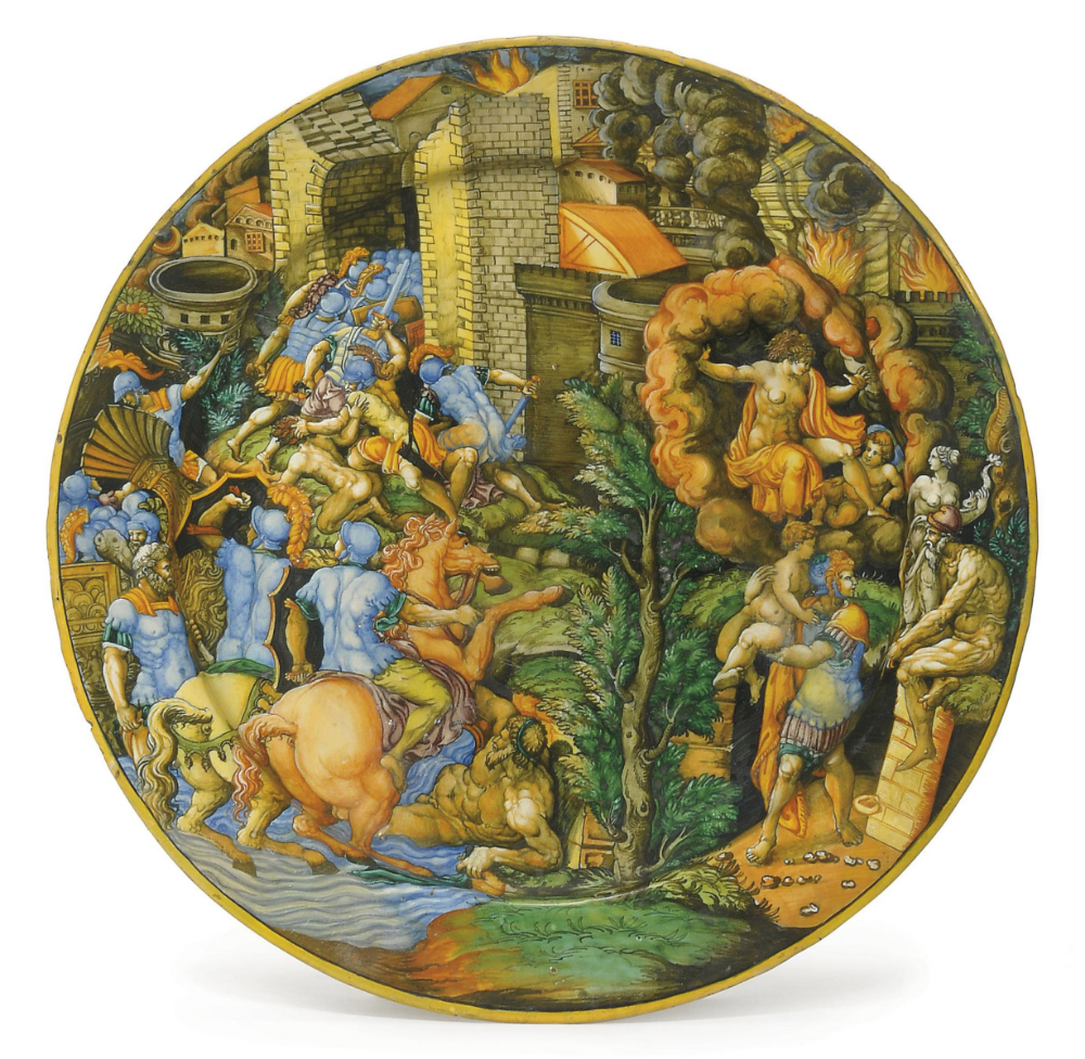 A maiolica plate showing ablazed Troy, cr. 1550-60, workshop of Virgiliotto Calamelli, Urbino or Faenza