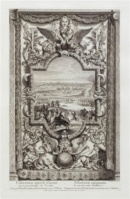 Regaining Valenciennes, 1720, Louis Surugue after Van der Meulen and Charles Le Brun, Paris, France