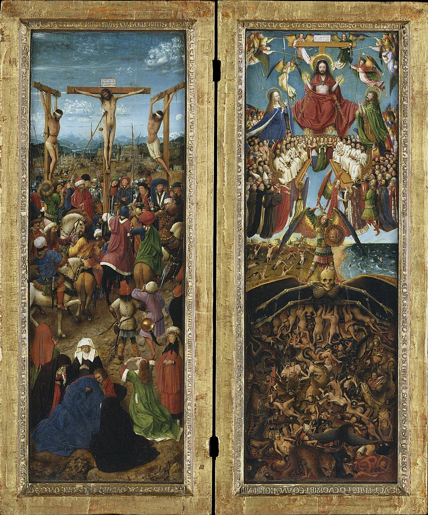 The Crucifixion and The Last Judgment, diptych, cr. 1430, Jan van Eyck, Netherlandish
