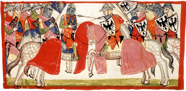 Nuova cronica illustration (Battle of Benevento, 1266), mid 14th century, Pacino di Buonaguida, Florence, Italy