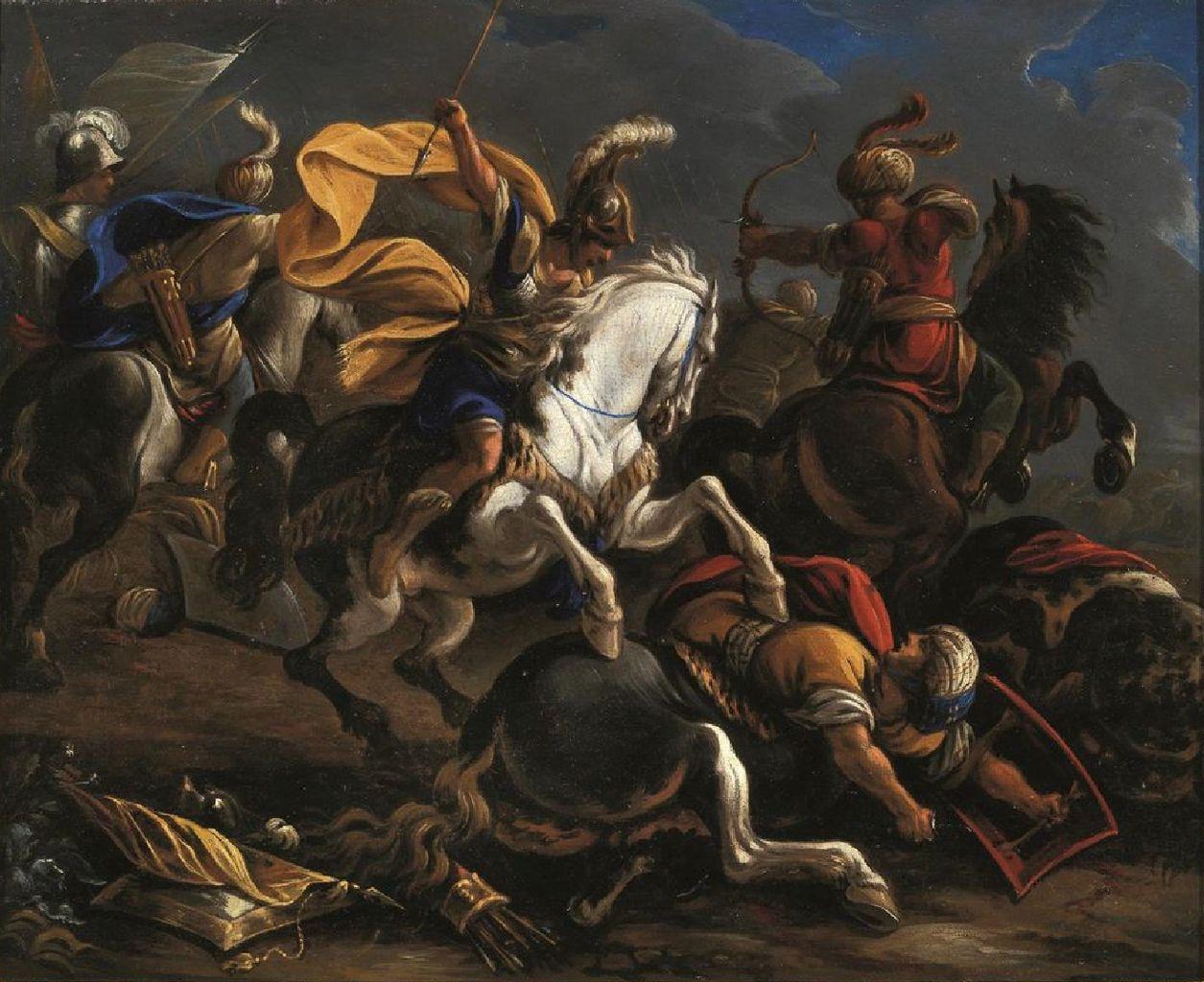 Cavalry battle between Turkishs and Christians, cr. 1610-1675, Vincent Adriaenssen, Flemish/Italian