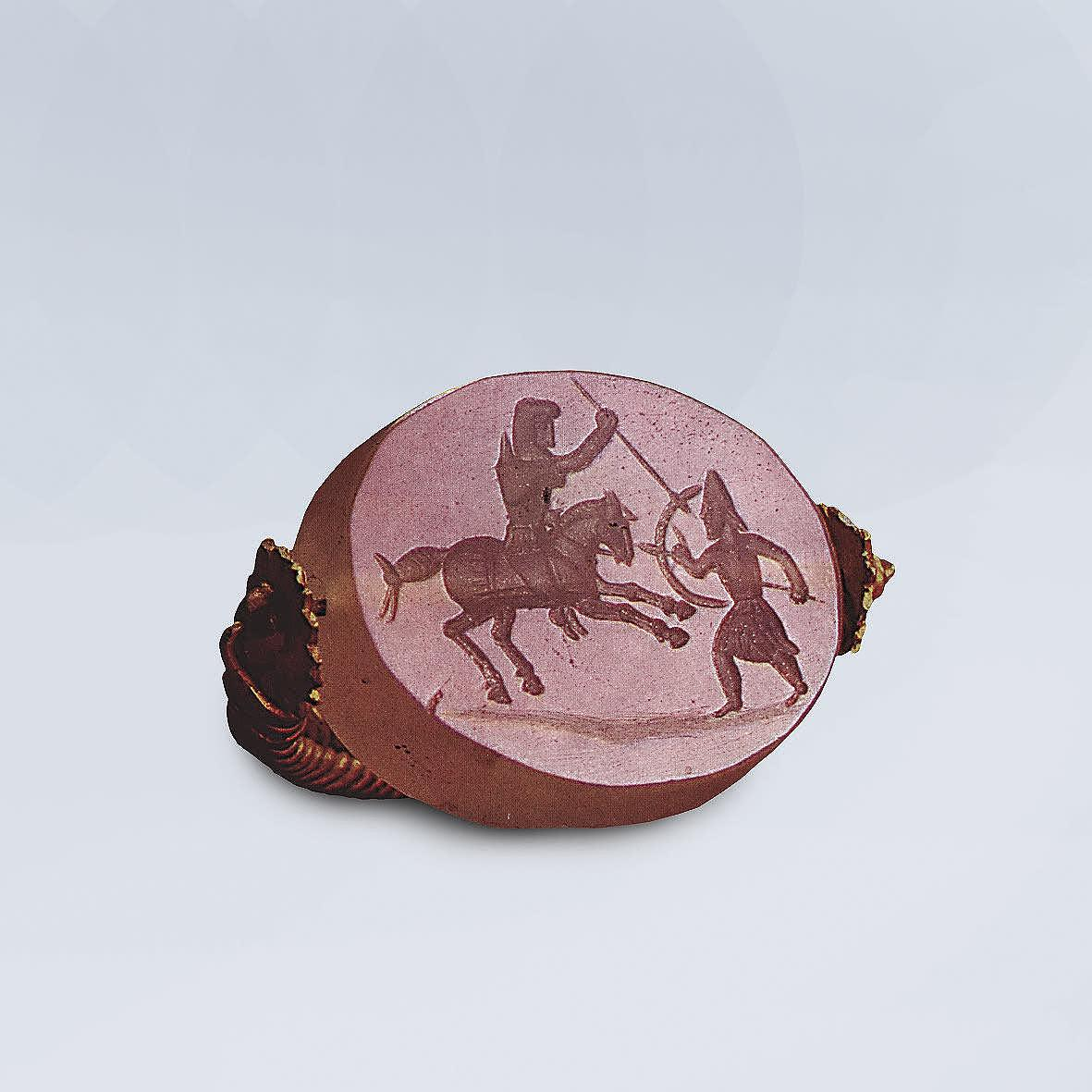 Chalcedony scarabaeoid seal: Persian Horseman Slaying a Hoplite with a Spear, First half of the 4th century BC, ?