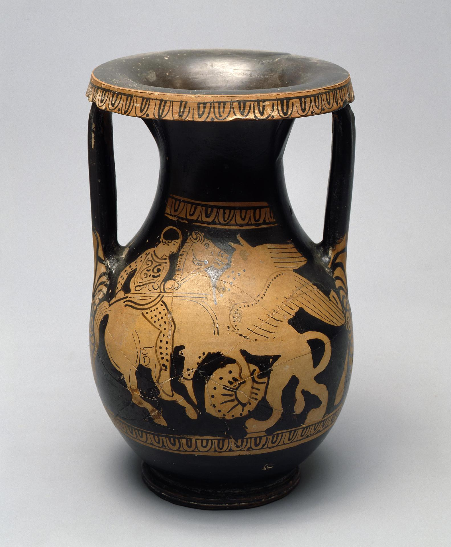 Red-figured Pelike: Arimasp Fighting a Gryphon and Two Mantled Youths, 360-350 BC, Attica